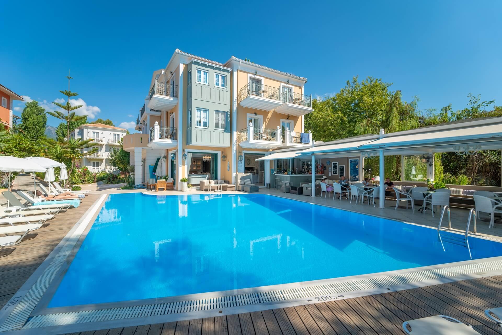 Pool view in sea side hotel Orion in Nidri